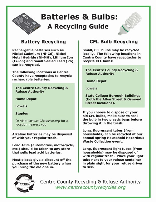 How To Dispose Of Batteries >> Batteries Bulbs Centre County Recycling Refuse Authority